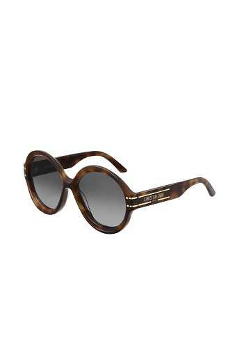 Dior Signature R1U 棕色玳瑁圓框灰色鏡片墨鏡。