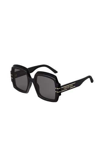 Dior Signature S1U 黑色方框灰色鏡片墨鏡。