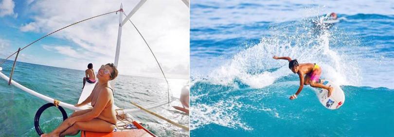 「Land of joy 墾丁海女阿書專業玩拍團隊」達人鳳書,和兒子都是衝浪高手。