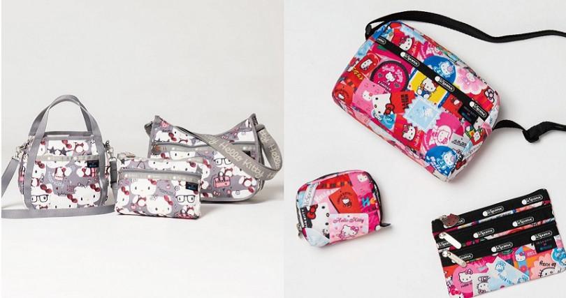 最大的亮點是Hello Kitty的頭像完美地點綴於拉鍊頭與字樣繡於織帶,讓每個小細節都充滿Hello Kitty的身影。(圖/LeSportsac Japan提供)