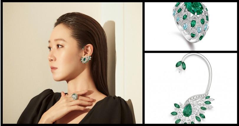 孔曉振配戴Native Bloom「仁王冠」祖母綠頂級珠寶鑽石戒指/6,750,000元;Native Bloom「漠地蕾絲」祖母綠頂級珠寶鑽石耳掛/5,300,000元(圖/品牌提供)