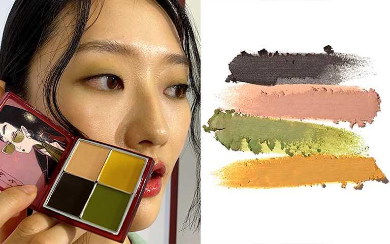 03千住宿(senjushuku)炭色、雅致的裸色、萌黃色、芥子色,打造洗練氛圍的表情。「Illustration © 2020 Sofiia Strekanova a.k.a. Soia」。(圖/彭靖芸攝,RMK提供)