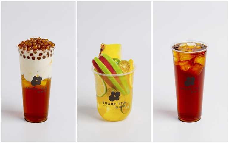 歇腳亭從8月6日至8日,祭出TOP5「買一送一」,由左至右分別為:珍珠鐵觀音厚奶、爆爆水果茶、日月潭魚池紅玉。
