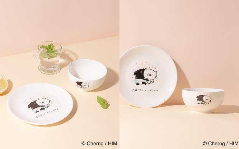 ORBIS水水喵與人氣馬來貘限量滿額贈「ORBIS X LAIMO吃貨碗盤組」。(圖/品牌提供)