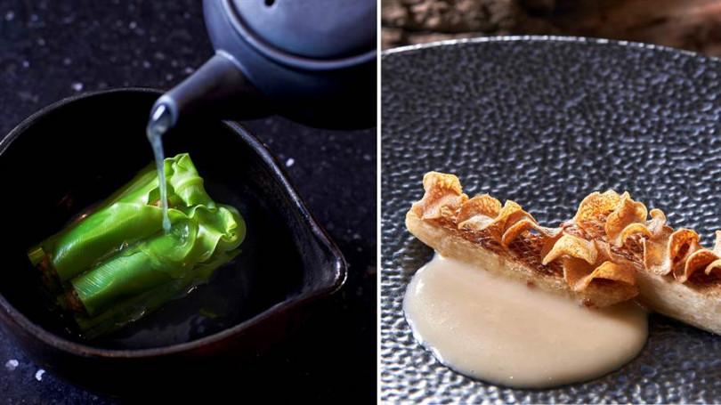 ▲左:赤嘴蛤蠣佐宜蘭蔥蒜台灣黃豆味噌。右:筊白筍佐花蓮糙米麴。(照片提供/Chefs Club Taipei)