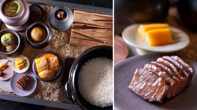 ▲左:土鍋燜台灣德穗米、搭醃漬時蔬、豬肉。右:茶香豬頰肉。(照片提供/Chefs Club Taipei)