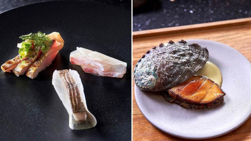 ▲左:醃漬土魠魚、鰹魚搭屏東醬油大頭菜。右:官田菱角、台灣鮑魚佐香油烏醋。(照片提供/Chefs Club Taipei)
