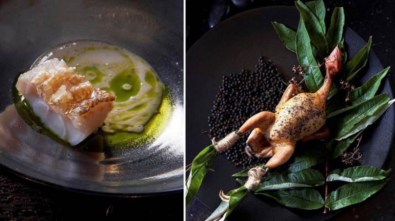 ▲左:馬頭魚佐煙燻豆漿、薑黃醬。右:炭烤屏東乳鴿、椪柑。(照片提供/Chefs Club Taipei)