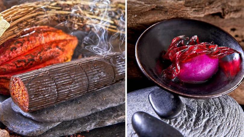 圖6- ▲左:泰國煙燻可可豆。右:紅龍果冰沙佐洛神花、薑汁。(照片提供/Chefs Club Taipei)