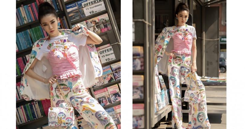 姐姐謝金燕在米蘭時裝周的街拍時尚!(圖/MOSCHINO提供)