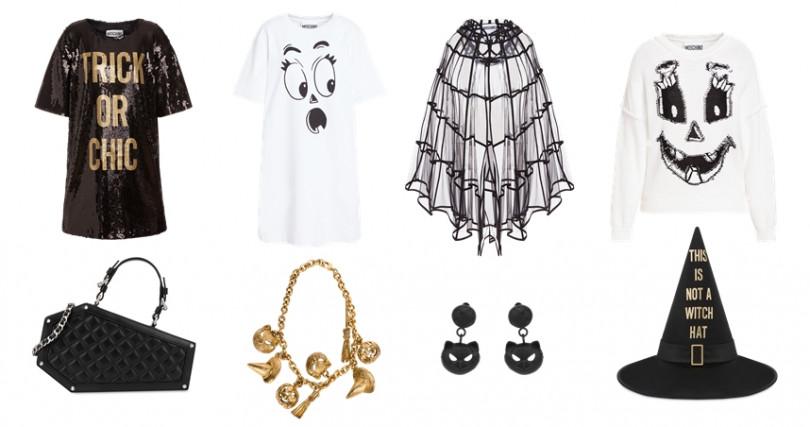 以南瓜、鬼影、棺材、巫師等元素為設計靈感,只要你敢穿就能搶眼稱霸全場。(圖/MOSCHINO提供)