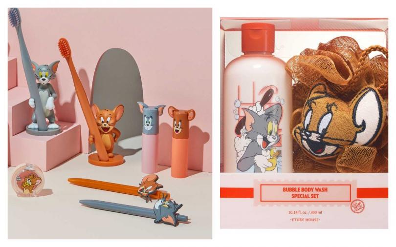 除了彩妝品項,更有周邊商品包括原子筆、牙刷贈品,右邊則是超可愛中鼠泡泡沐浴組外型超萌外,內容是水蜜桃玫瑰香氣的沐浴乳與泡泡海綿,讓你幸福沐浴過鼠年!ETUDE HOUSE LUCKY TOGETHER鼠泡泡沐浴組/650元。(圖/品牌提供)