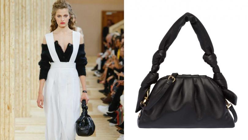 以具有份量感的皮革繩結搭配鬆軟的包型。MIUMIU 納帕軟皮手提包/59,500元(圖/品牌提供)
