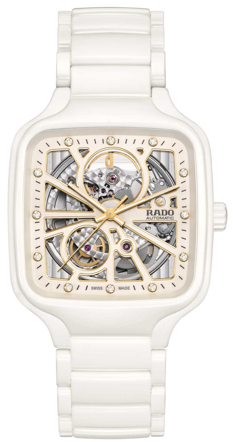 RADO「True Square真我」系列,方形電漿高科技陶瓷鏤空自動腕錶,白色高科技陶瓷錶殼,鑽石12顆,38mm╱89,700元。(圖╱RADO提供)