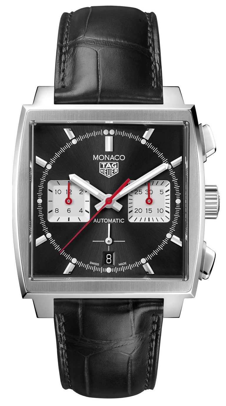 TAG HEUER「MONACO H02」自動計時腕錶,皮革錶帶,黑色錶面款,39mm╱208,600元。(圖╱TAG HEUER提供)