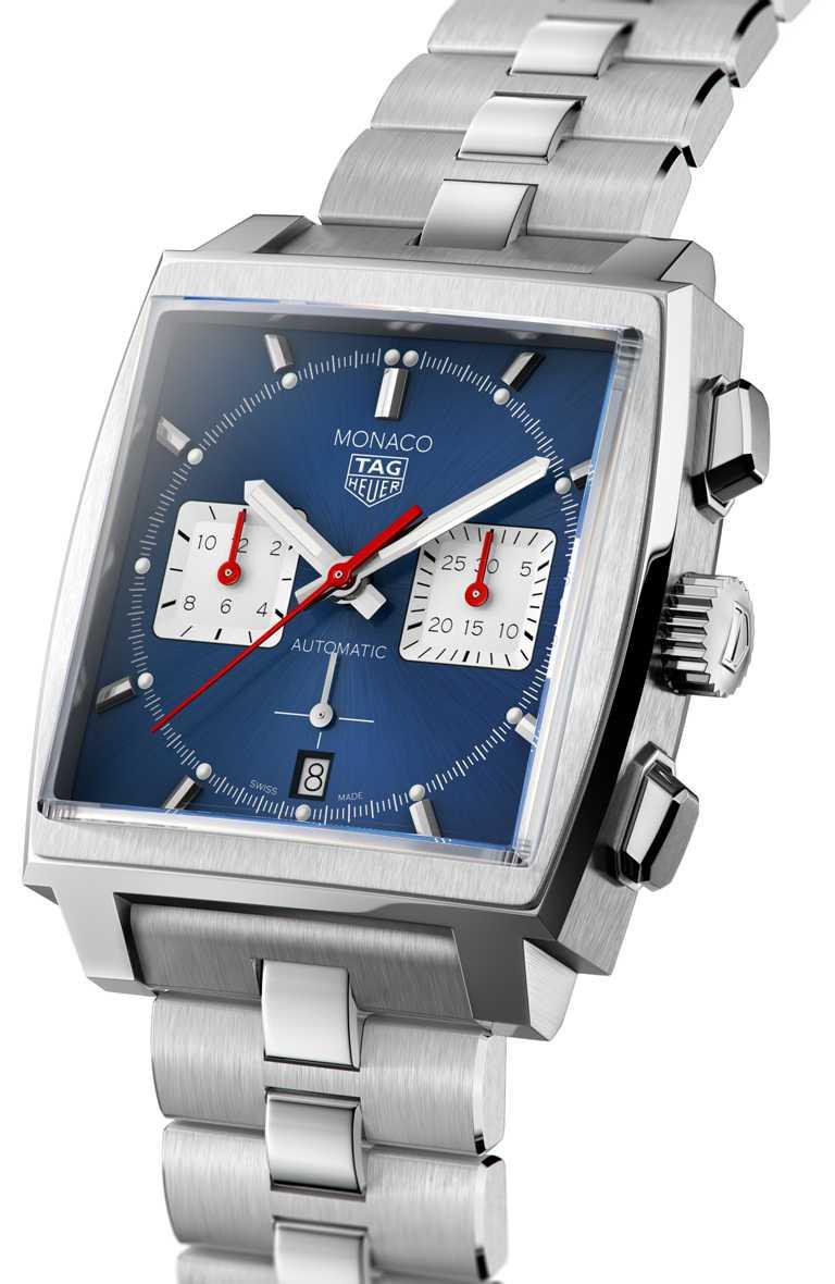 TAG HEUER「MONACO H02」自動計時腕錶,精鋼錶鍊,藍色錶面款,39mm╱222,100元。(圖╱TAG HEUER提供)