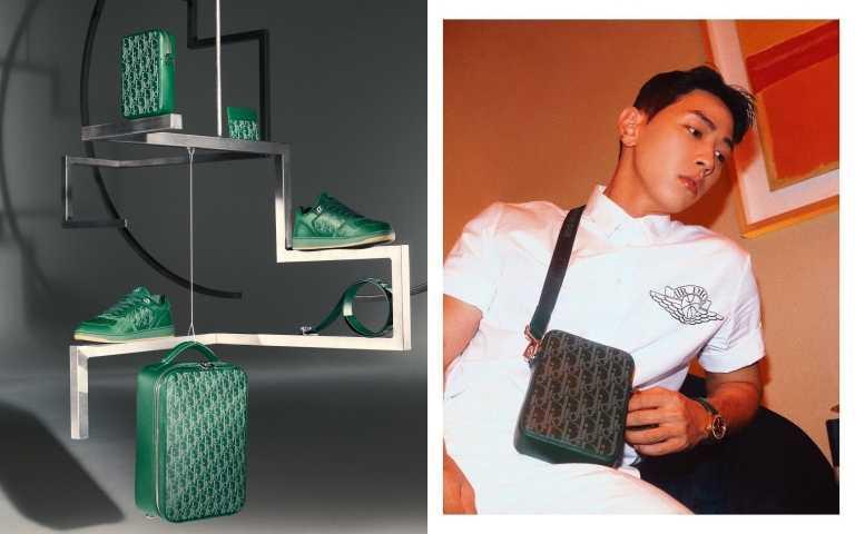 韓國創作才子歌手兼音樂製作人Gray也選擇Dior World Tour膠囊系列的松花綠小方包。(圖/品牌提供、ig)