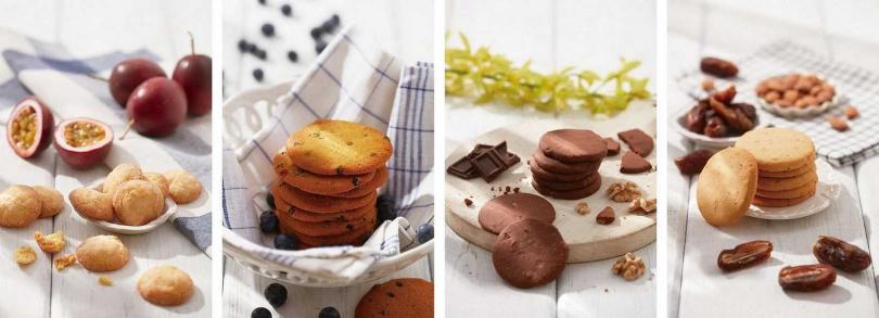 左起「南法百香果餅乾」、「美式藍莓餅乾」、「無麩質巧克力核桃餅乾」、「無麩質椰棗杏仁餅乾」。(圖/Aunt Stella詩特莉提供)