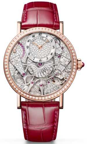 BREGUET「Tradition 7035傳世」系列仕女鑽錶,18K玫瑰金錶殼,505J型自動上鏈機芯,鑽石357顆,限量88只╱2,576,000元。(圖╱BREGUET提供)
