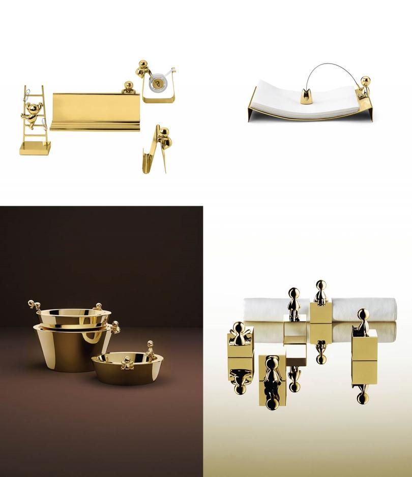 Stefano Giovannoni為設計公司Ghidini 1961打造「Omini系列」各式黃銅文具、居家小物,售價175歐元起(約新台幣6,060元)。
