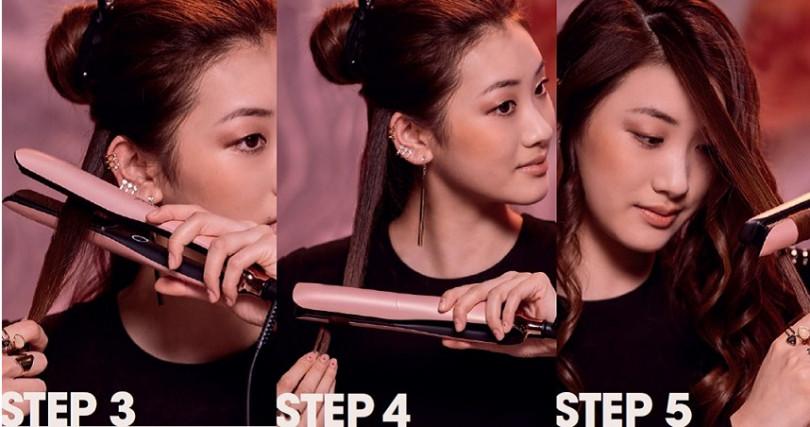 STEP3:造型夾以水平方向,開口向後夾著髮片往外翻轉180度。STEP4:造型夾夾著髮片往下滑,每一片髮片以相同方式塑捲。STEP5:進行到另一邊的瀏海區,造型夾請轉成開口向前往內翻轉180度塑捲。(圖/品牌提供)
