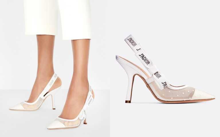彷彿是以白色堆疊出的夢境,將經典更加柔美的詮釋。DIOR J'adior露跟高跟鞋/41,000元(圖/品牌提供)