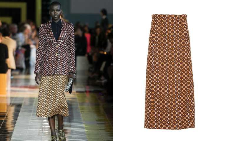 透過同樣圖紋、不同色系的堆疊更加復古。PRADA Jacquard skirt 半截裙/價格未定(圖/品牌提供)