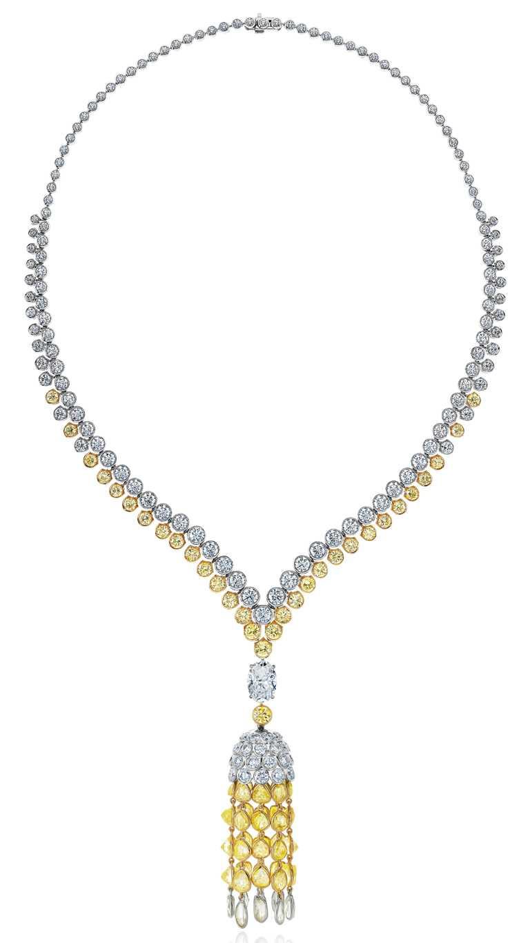 DE BEERS「Electric Cichlid」系列,頂級珠寶鑽石項鍊╱18,900,000元。(圖╱DE BEERS提供)