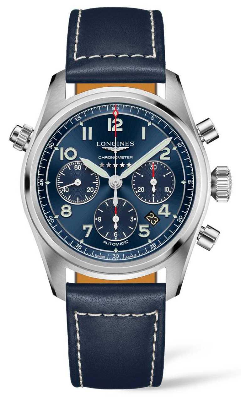 LONGINES「Spirit先行者」系列計時碼錶,不鏽鋼錶殼,42mm╱100,300元。(圖╱LONGINES提供)