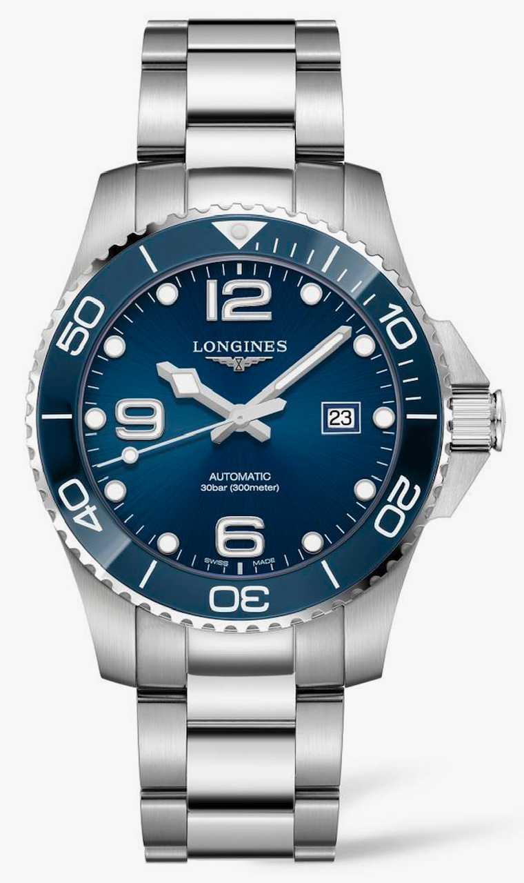 LONGINES「HydroConquest深海征服者」系列藍色陶瓷圈腕錶,不鏽鋼錶殼,43mm╱51,900元。(圖╱LONGINES提供)