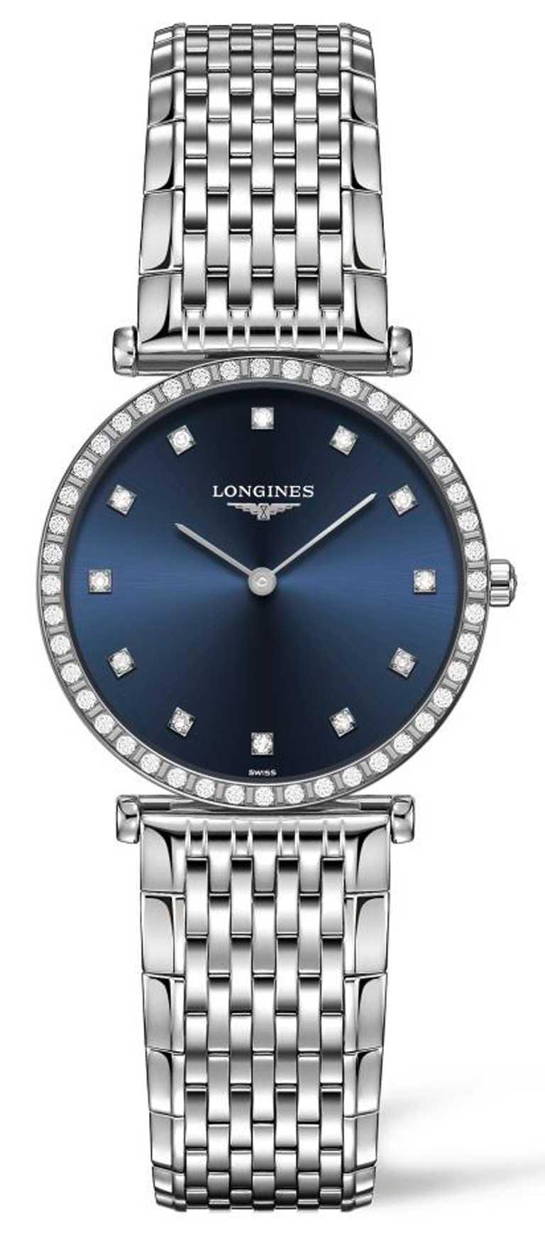 LONGINES「La Grande Classique嘉嵐系列」藍面鑽圈腕錶」,不鏽鋼錶殼,43mm,鑽石44顆╱111,000元。(圖╱LONGINES提供)