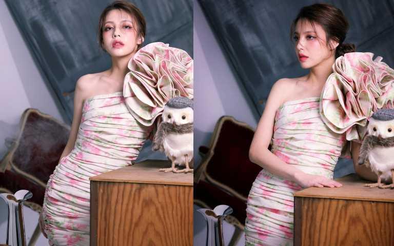 MOSCHINO立體花花卉單肩短洋裝/175,300元(圖/戴世平攝影)