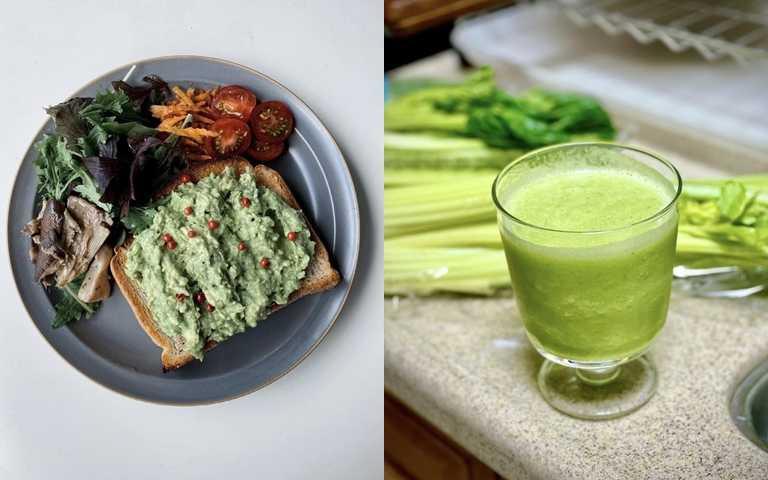 吃對東西也能抗氧化喔!如果懶得自己煮,也可以透過打果汁的方式來攝取深色系蔬果。(圖/IG@reona_aoyama、IG@influencer_ryan.k)