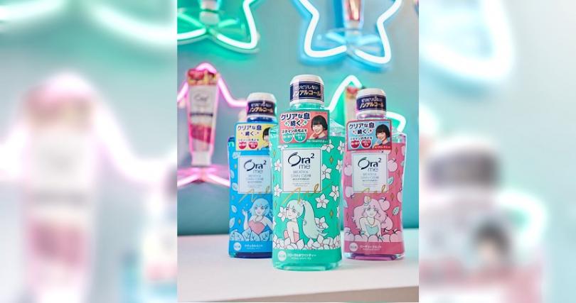 編輯推薦Ora2 me這系列產品!找來日本插畫家竹井千佳合作,從外包裝就超級卡哇伊~Ora2me淨白無瑕花漾漱口水(藍色為薄荷香味、綠色為白茶花香、粉色為蜜桃薄荷香)460ml / 268元。(圖片/Ora2提供)