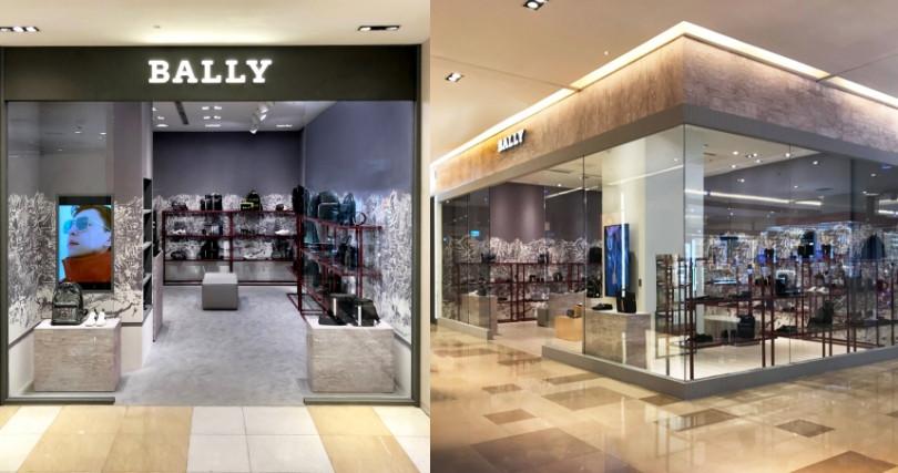 (左)Bally台中新光三越中港店快閃店。(右)台北板橋大遠百Bally專門店。(圖/品牌提供)