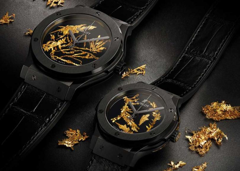 HUBLOT「經典融合」系列黃金結晶體腕錶╱(左)45mm,654,000元;(右)38mm,622,000元(圖片提供╱HUBLOT)