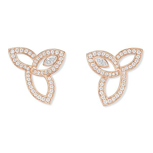 HARRY WINSTON「Lily Cluster系列」玫瑰金鑽石耳環╱295,000元(圖╱HARRY WINSTON提供)