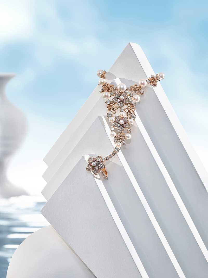 BVLGARI「JANNAH系列」頂級玫瑰金鑽石與珍珠戒指手鍊(圖╱BVLGARI提供)