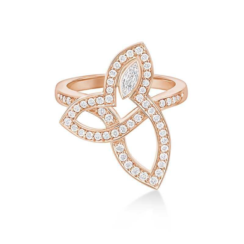 HARRY WINSTON「Lily Cluster系列」玫瑰金鑽石戒指╱240,000元(圖╱HARRY WINSTON提供)