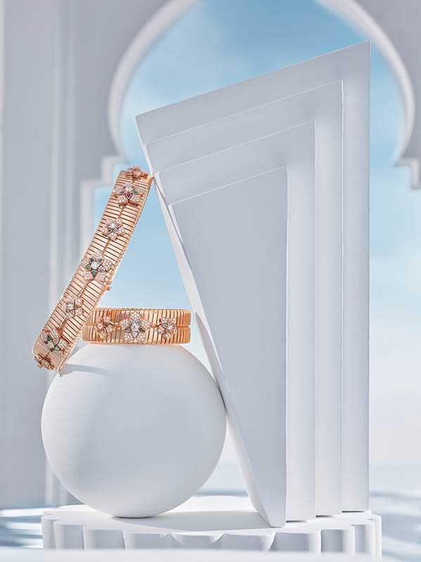 BVLGARI「JANNAH系列」頂級玫瑰金鑽石頸鍊、手環(圖╱BVLGARI提供)