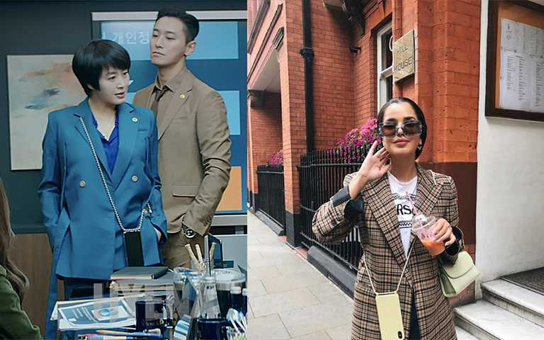 西裝套裝這種正式服裝,配上放手自由手機殼也不突兀,反而有專業感。(圖/xouxou IG,tvN)