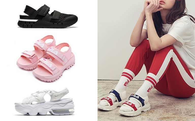 (左上)Onitsuka Tiger REBILAC SANDAL、(左中)FILA櫻花粉厚底涼鞋、(左下)Nike Air Max Koko涼鞋、(右)FILA厚底涼鞋(圖/Onitsuka Tiger、FILA、Nike)