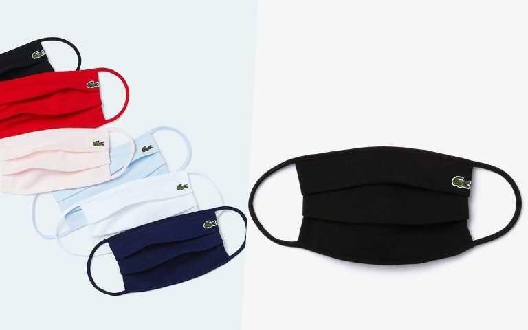LACOSTE共推出了純潔白、時尚黑、海軍藍、天空藍及熱血紅等5色時尚口罩,可清洗重複使用/480元(圖/品牌提供、IG)