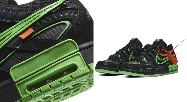 Nike x Off-White Rubber Dunk將Air的氣墊刻意顯露於外的設計。(圖/NIKE)