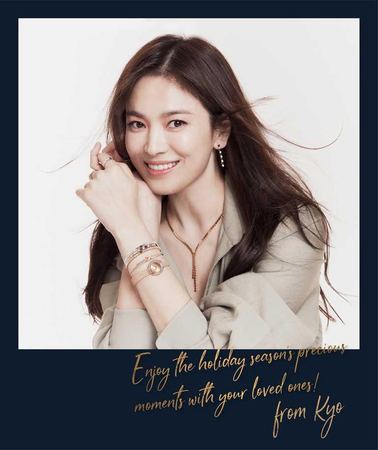 CHAUMET亞太區品牌大使宋慧喬,佩戴「Bee My Love」系列珠寶,捎來冬日溫暖祝福。(圖╱CHAUMET提供)