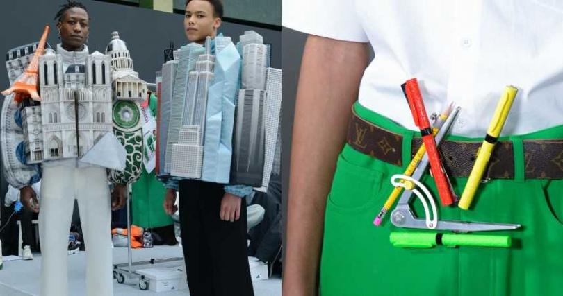 秀中出現的兩套立體裝置,分別代表Virgil Abloh成長的芝加哥與現居的巴黎。或是 將建築師職業中常用的針筆、鉛筆、尺規等化作腰帶上的LV字母裝飾。(圖/品牌提供)