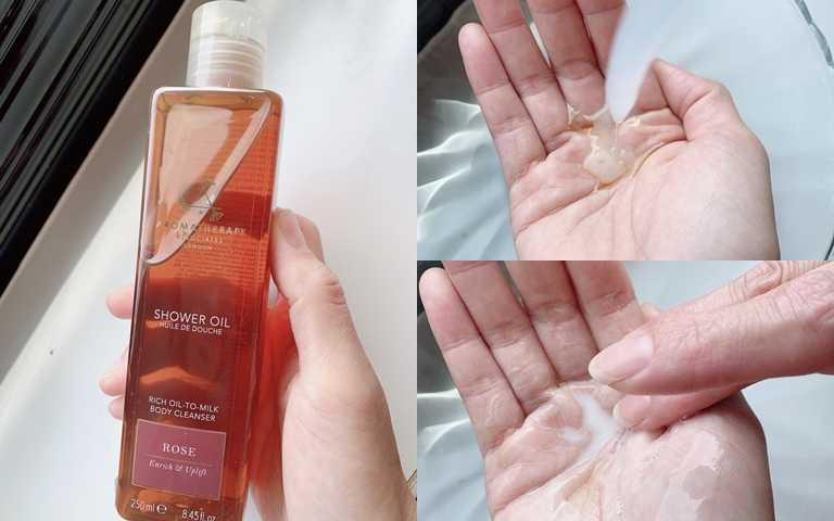 AROMATHERAPY ASSOCIATES玫瑰精油沐浴露 250ml/1,400元  一碰水秒乳化!用量不用過多就能清洗全身。(圖/吳雅鈴攝影)