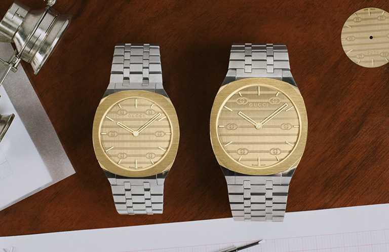 GUCCI「25H」系列石英腕錶,不鏽鋼鍍18K金錶殼,(左)34mm╱59,000元;38mm╱63,000元。(圖╱GUCCI提供)