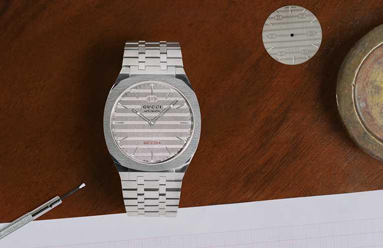 GUCCI「25H」系列腕錶,38mm不鏽鋼錶殼,GG727.25型自動上鏈機芯╱295,000元。(圖╱GUCCI提供)