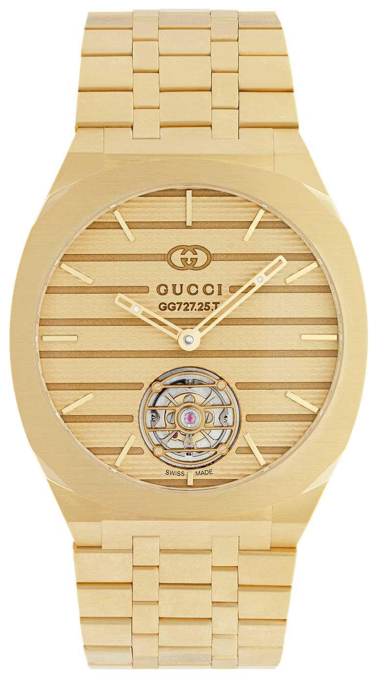 GUCCI「25H Tourbillon」黃金陀飛輪腕錶,40mm,18K黃金錶殼,GG727.25型陀飛輪機芯╱價格店洽。(圖╱GUCCI提供)